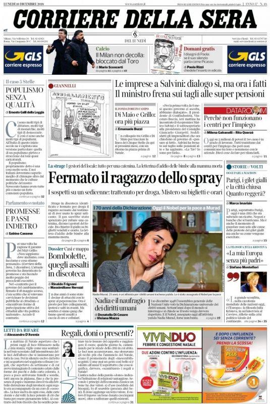 LUNEDI  10 DICEMBRE 2018 Prima Pagina - La stampa Nazionale e ... 0af27633380