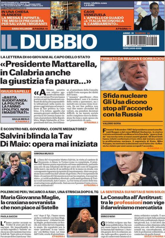 SABATO 2 FEBBRAIO 2019 Prima Pagina - La stampa Nazionale e ... 8bd04f61da6