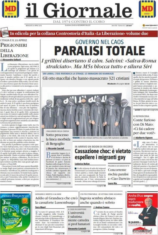 MERCOLEDI' 24 APRILE 2019 Prima Pagina - La stampa Nazionale
