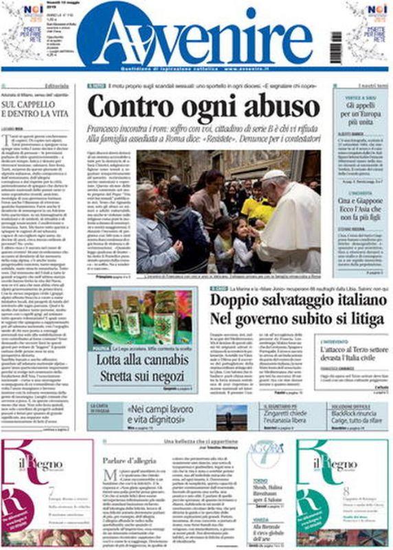 780883697638 VENERDI  10 MAGGIO 2019. Prima Pagina - La stampa Nazionale e  Internazionale. cms 12757 Italiani 1557458087.jpg. cms 12757 avvenire.jpg