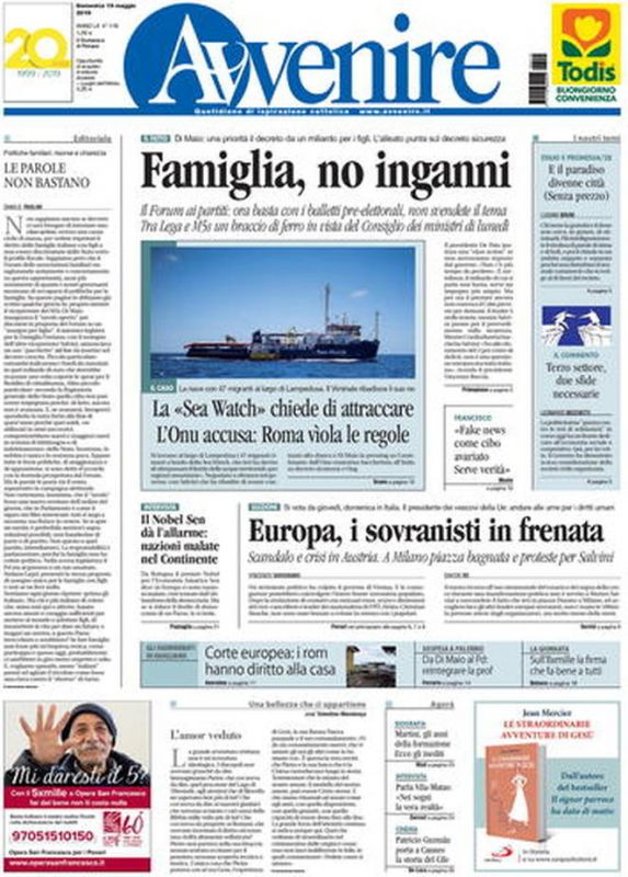 53f42c7dbeeb DOMENICA 19 MAGGIO 2019. Prima Pagina - La stampa Nazionale e  Internazionale. cms 12862 Italiani 1558235799.jpg. cms 12862 avvenire.jpg