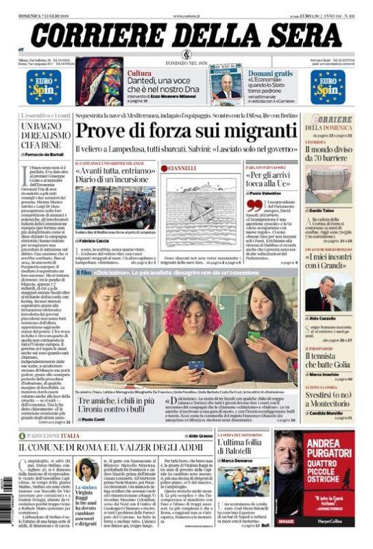 Style Corriere Della Sera Calendario Uscite.Domenica 7 Luglio 2019 Prima Pagina La Stampa Nazionale E