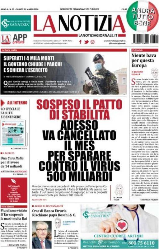 Sabato 21 Marzo 2020 Prima Pagina La Stampa Nazionale E Internazionale International Web Post International Web Post