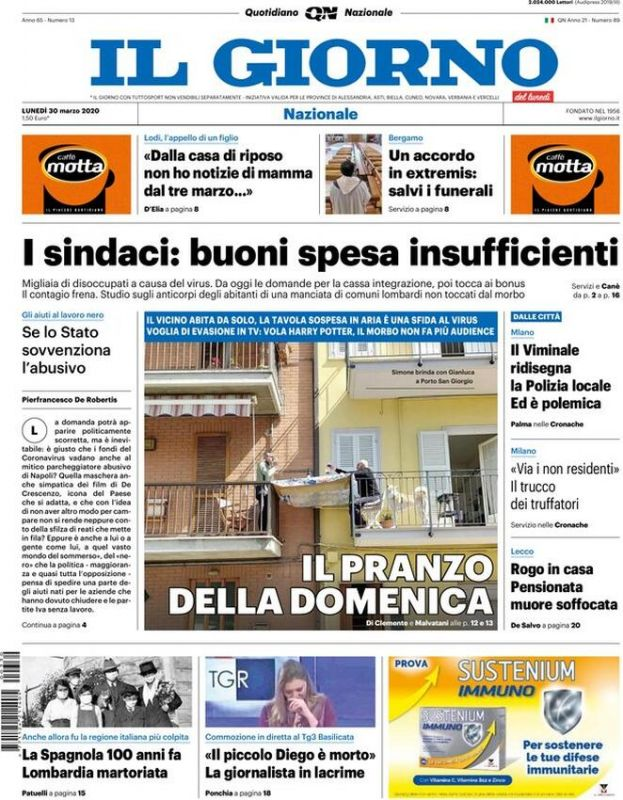 Lunedi 30 Marzo 2020 Prima Pagina La Stampa Nazionale E Internazionale International Web Post International Web Post